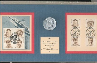 Yuri Gagarin Autographed 30th Anniversary Stamp and Medal Commemorative
