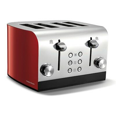 Morphy Richards Equip 4 Slice Bread Toaster Wide Slot Crumb Tray 7 Settings Red