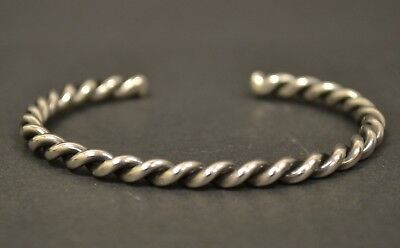 Vintage Native American Old Pawn Sterling Silver Twisted Rope Cuff Bracelet