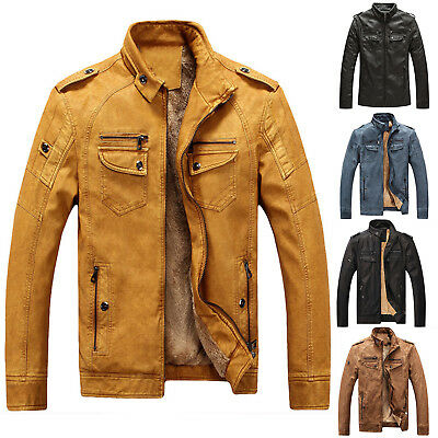 Retro Hot Mens Washed Leather Biker Jacket Coat Thicken Winter Trench Coat CHIC