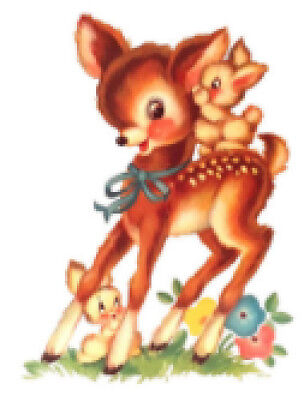 Vintage Image Shabby Nursery Retro Deer and Bunnies Waterslide Decals AN810