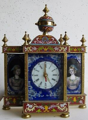 Fine Old Chinese Cloisonne & Enamel Metal Portraits Decorated Mantle Clock