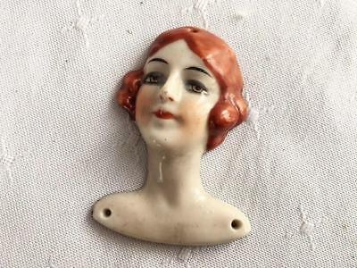 Art Deco German Porcelain Flat Back Flapper Lady Pin Cushion Half Doll