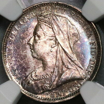 1901 NGC MS 63 Maundy 4 Pence Victoria Toned GREAT BRITAIN Coin (16122105C)