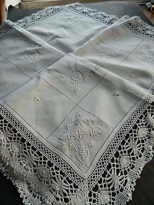 Antique white Irish linen tablecloth - Cluny lace border & hand emb whitework