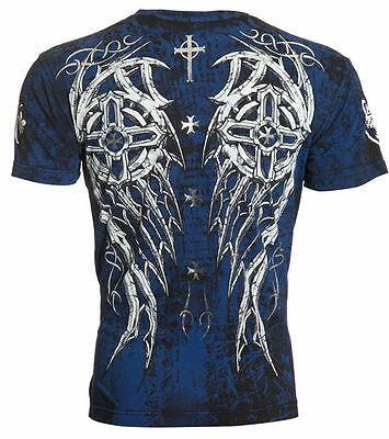 ARCHAIC by AFFLICTION Mens T-Shirt SPIKE WINGS Tattoo BLACK BLUE Biker UFC $40