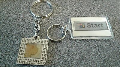 2 Vintage Keychains Microsoft Flying Window & Intel Pentium '92 Processor EUC