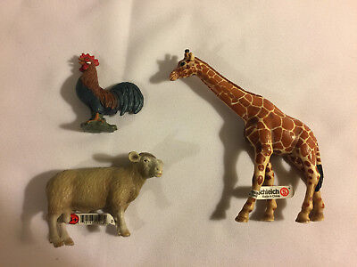 Lot of Assorted SCHLEICH GIRAFFE, SHEEP & ROOSTER Toy Figures - Good Used