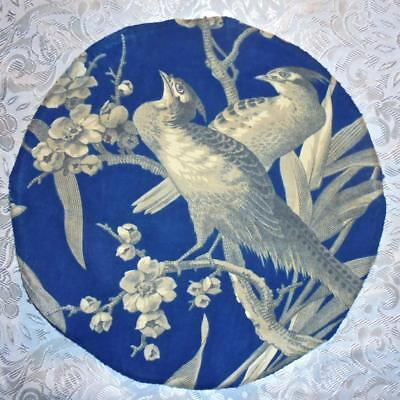 EXQUISITE PANEL OF 19th CENTURY FRENCH LINEN TOILE DE JOUY, BIRDS CHERRY BLOSSOM