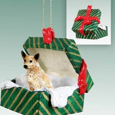 Australian Cattle Dog Brown Green Gift Box Holiday Christmas ORNAMENT