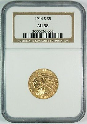 1914-S $5 Gold Indian Head Half Eagle NGC AU58  **Better Date**