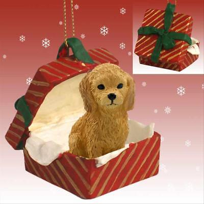 Goldendoodle Dog RED Gift Box Holiday Christmas ORNAMENT