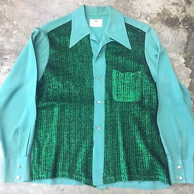 Vintage 1960's Two-Tone Lurex & Rayon Loop Collar Stage Rockabilly Shirt - M