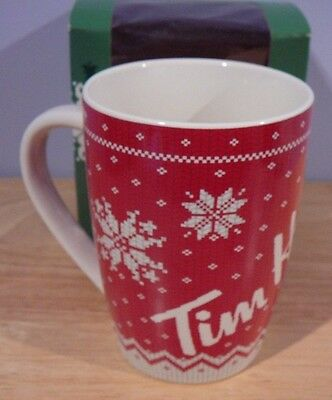 Limited Edition TIM HORTON'S Snowflakes Red Sweater Mug Cup 14 oz