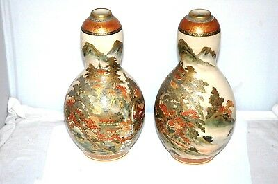 Satsuma Pair of Vases 9 ½ Inch Tall ESTATE FIND No Reserve