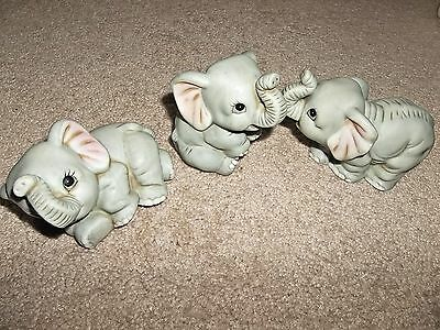 Set of 3 Collectible Porcelain Baby Elephant Figurines - Philippines