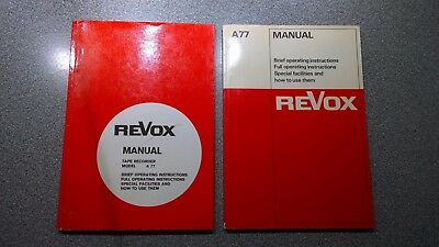 Revox A77 Manuals X2 In Very Good Condition
