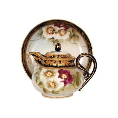 Vintage NIPPON Porcelain Teapot Hand PAINTED Water POT CHERRY BLOSSOM Mark 1920s