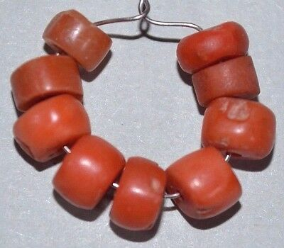 Antique Natural Small Red Coral Beads Collected From Nigeria African Trade
