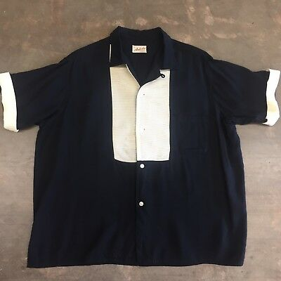 Vintage 1950's Black & White Rayon Loop Collar Stage Rockabilly Shirt - Large