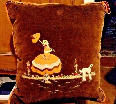 Vintage  Pillow With Lady With A Parasol, Flowers & A Dog Made Of Felt & Wool