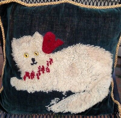 """Vintage Throw Pillow With Wonderful Large 14"""" Furry Cat With Glass Eyes"""