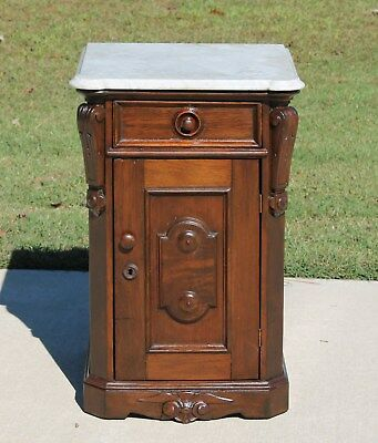 Victorian Walnut Marble Top Half Commode Washstand Nightstand Circa1875