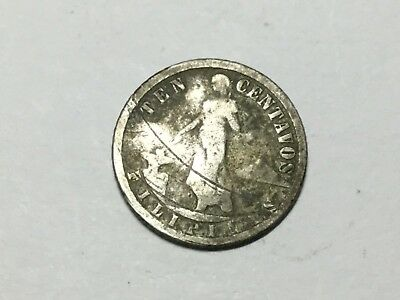 Phillipines 1917-S 10 centavo small silver coin worn, nicked, scratched