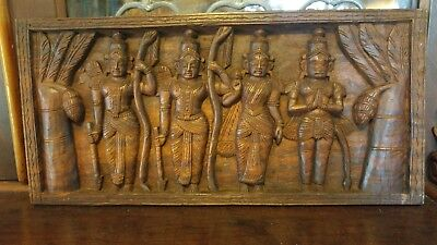 Vintage Balinese Indonesian Carved Wood Wall Panel