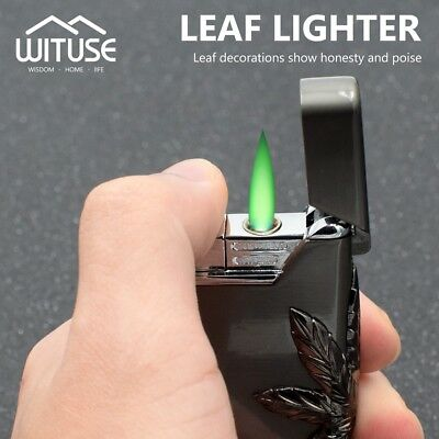Creative Butane Flame Cigar Lighter Refillable Gas Windproof Torch Green LED D2