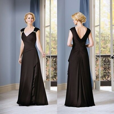 Black Mother Of the Bride Dresses Cocktail Party Formal Gowns Size 14 16 18 20 +
