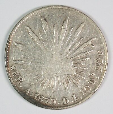 1870-As Mexico 8 Reales Silver Coin
