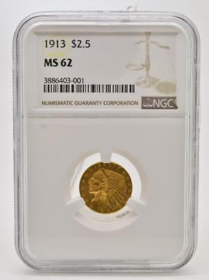 1913 Gold United States $2.5 Dollar Indian Head Quarter Eagle Coin NGC MS62