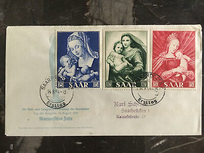 1954 Saar Germany airmail First Day cover Local use COmplete set # 250-252 FDC