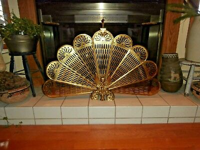 Vintage Brass Fireplace Screen Fan Peacock Style Phoenix Griffin Lion Base