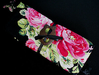 SARONG ~ BLACK with ROSES DESIGN, TOP QUALITY RAYON ~ LARGE 160 x 110cm