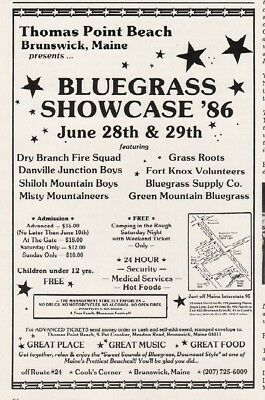 1986 Thomas Point Beach Brunswick ME Bluegrass Dry Branch Shiloh Misty Mtn Ad