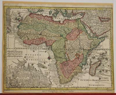 African Continent 1747 Tobias Conrad Lotter Antique Original Copper Engraved Map