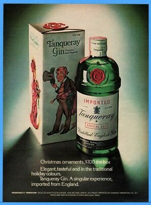 1973 Tanqueray Gin classic green bottle Christmas Ornaments The Box Print ad