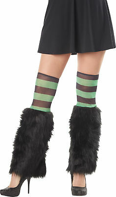 Kit Leg Furries Stripe Grn/Blk Adult Women Costume Accessories