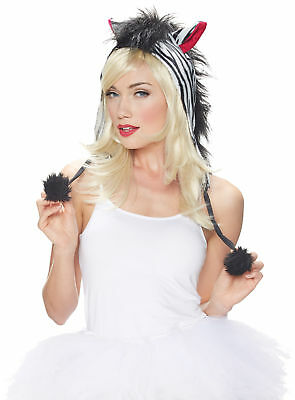 Kit Hood Zebra Blk/Wht Adult Women Costume Accessories