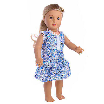 Cute Handmade T-shirt Dress  For 18inch American Girl Doll Party 2017 Blue.~