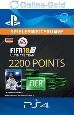 FIFA 18 PlayStation 4 - 2200 FUT Points Key FIFA Ultimate Team PS4 - DE Account