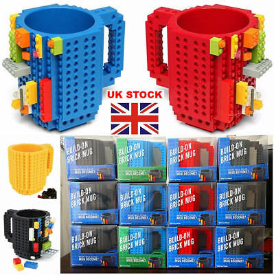 10 Colors DIY Creative Lego Puzzle Brick Mug Build On Block Coffee Tea Drink Cup