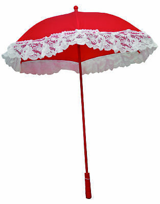 Parasol Nylon Ruffle Red  Costume Accessories