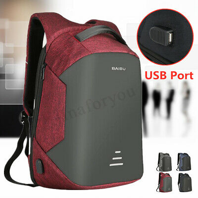 16''  Mens Anti-theft Waterproof Laptop Travel Shool Bag Backpack With USB Port