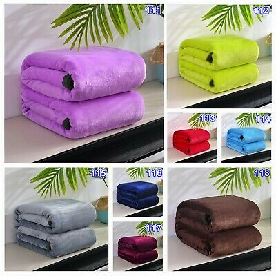 Pure Color Soft Plush Warm Blanket Single Double Queen Size Home Sofa Decor Rug