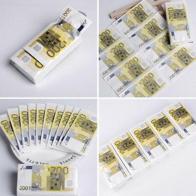 10pcs / Set 200 Euro Money Creative Printing Personality Paper Towels