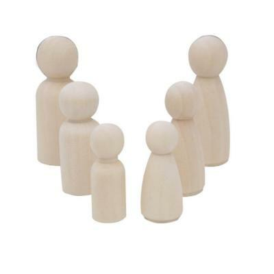 30pcs Wooden Peg Dolls Family People DIY Unpainted Children Kids Toys Craft