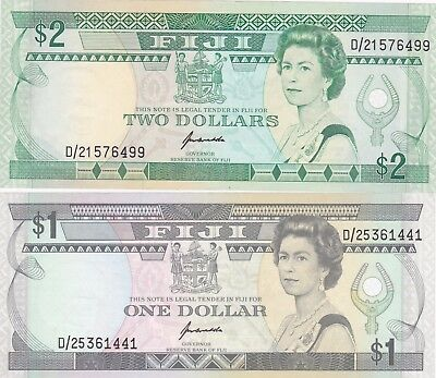 P89a $1 & P90a $2 FIJI BANK NOTES IN NEAR MINT CONDITION